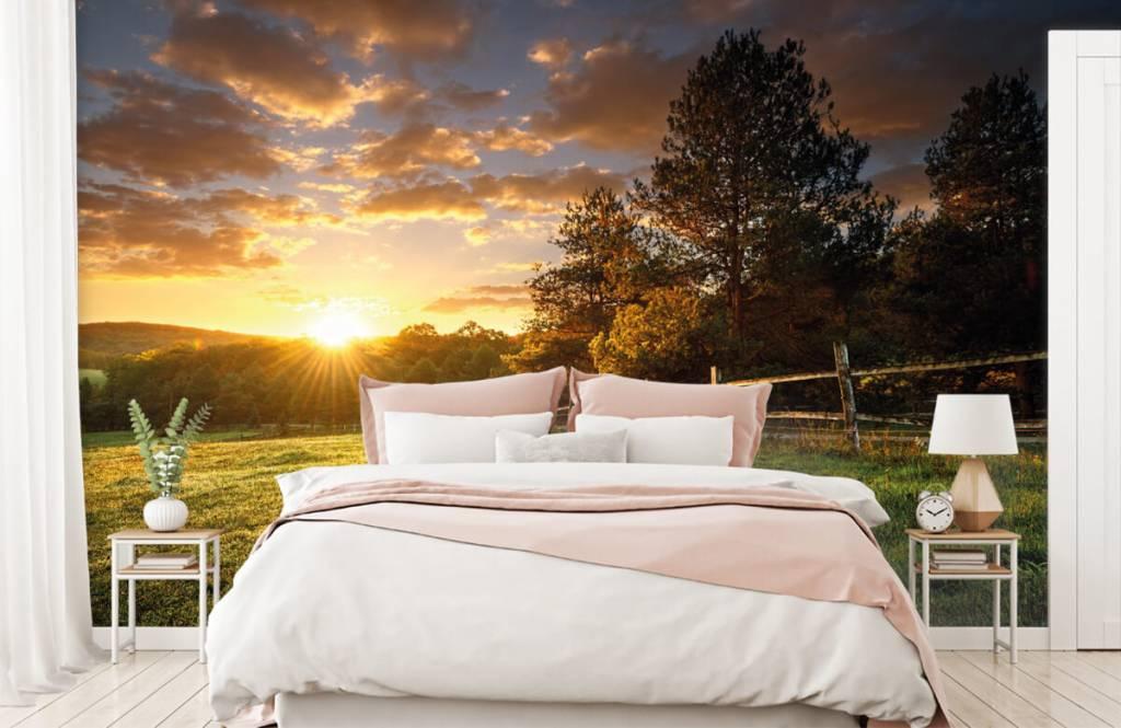 Landschap - Weiland met zonsondergang - Slaapkamer 2