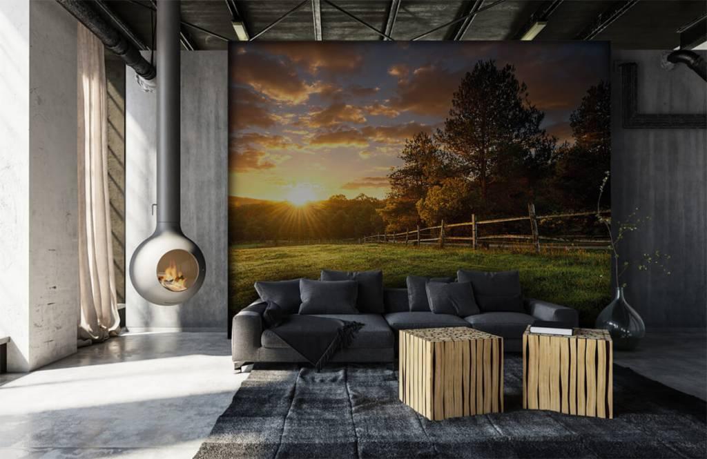Landschap - Weiland met zonsondergang - Slaapkamer 6