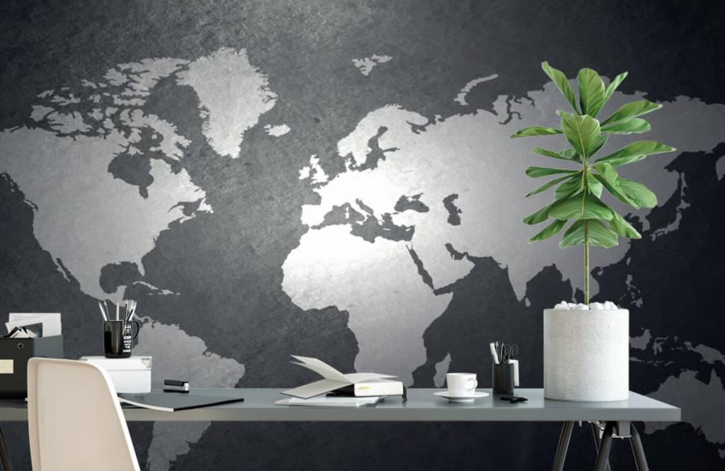 Wereldkaart behang - Wereldkaart lichtgrijs - Directie 2