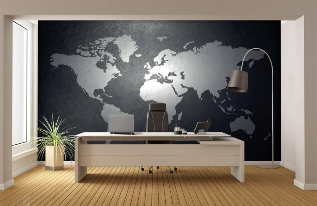 Wereldkaart behang - Wereldkaart lichtgrijs - Directie 3