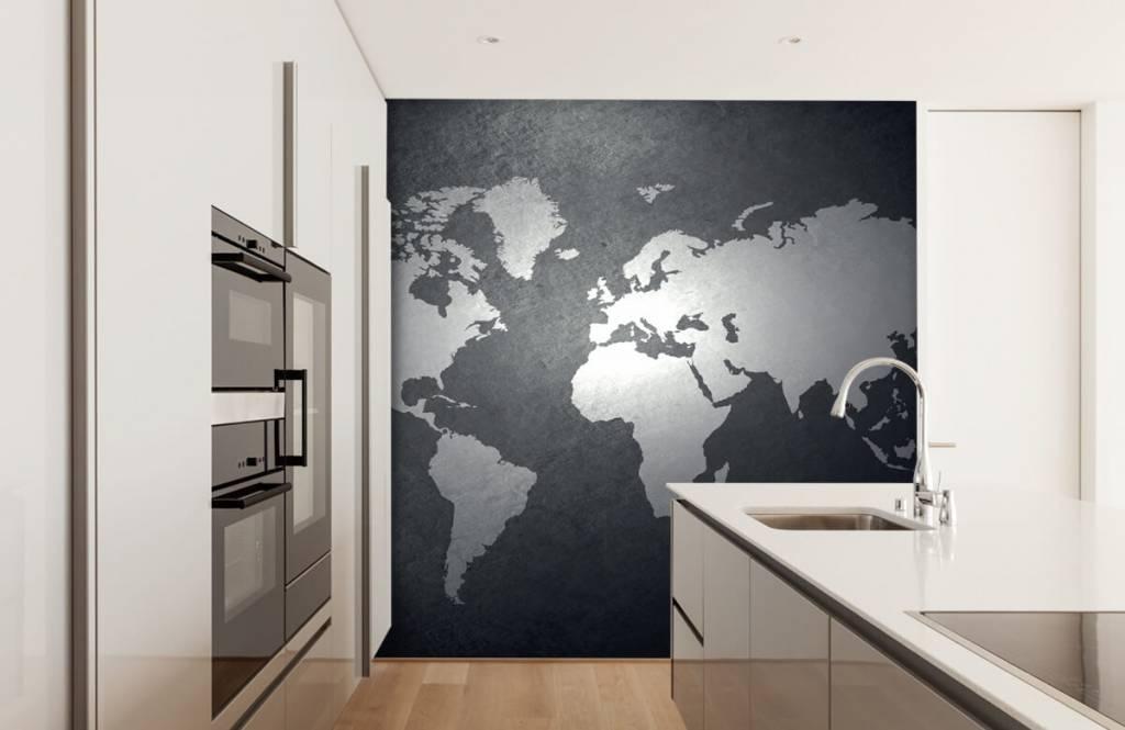 Wereldkaart behang - Wereldkaart lichtgrijs - Directie 4