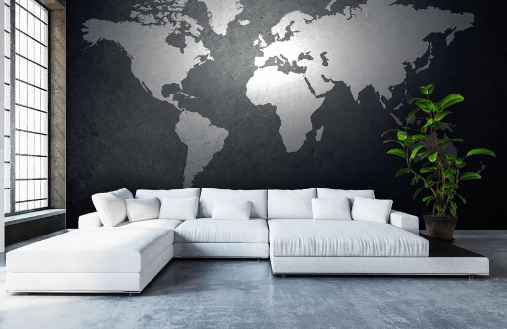 Wereldkaart behang - Wereldkaart lichtgrijs - Directie 5