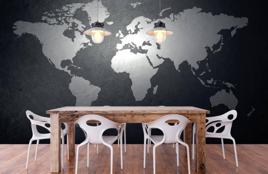 Wereldkaart behang - Wereldkaart lichtgrijs - Directie 6