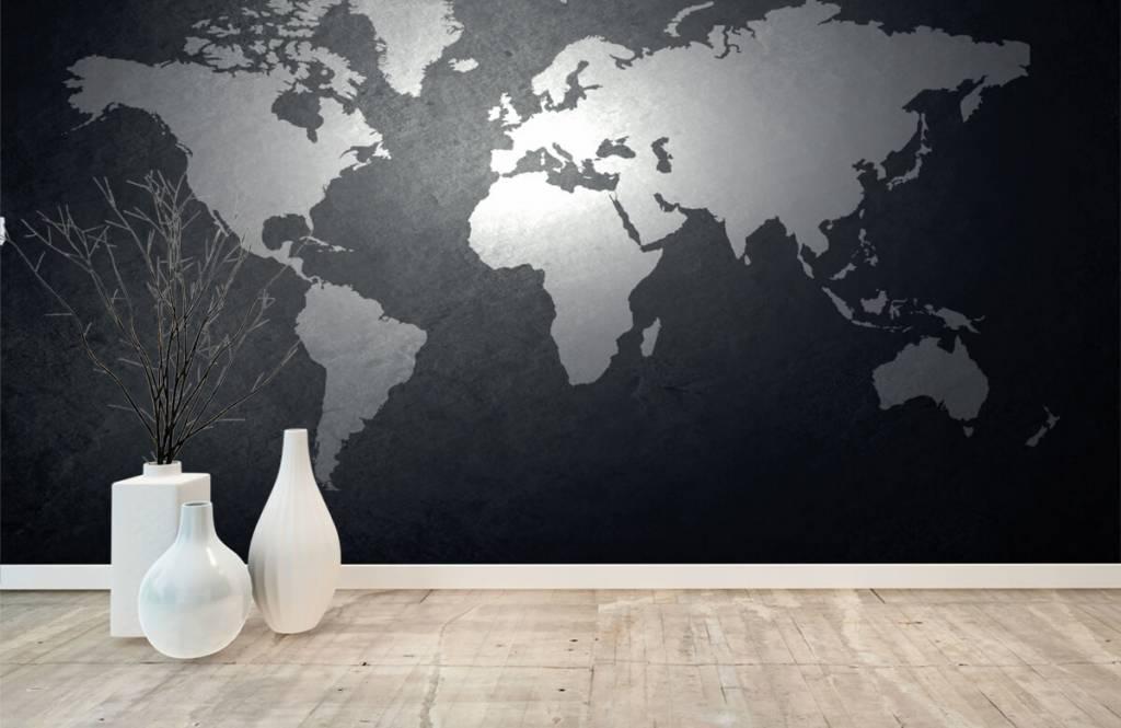 Wereldkaart behang - Wereldkaart lichtgrijs - Directie 7