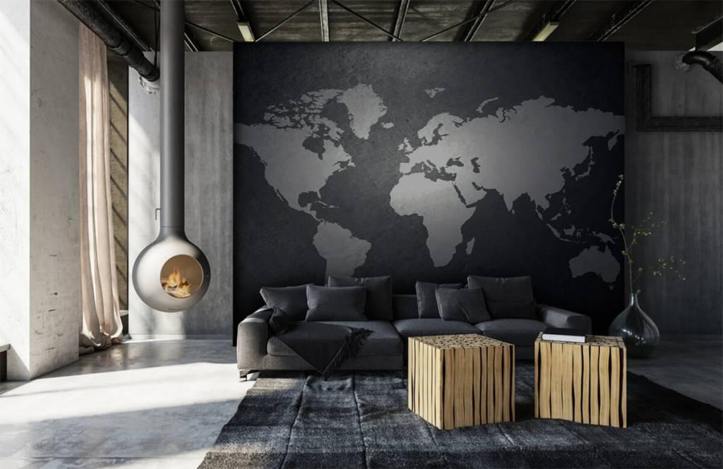 Wereldkaart behang - Wereldkaart lichtgrijs - Directie 9