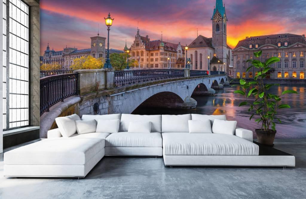 Steden behang - Zürich in de avond - Slaapkamer 1