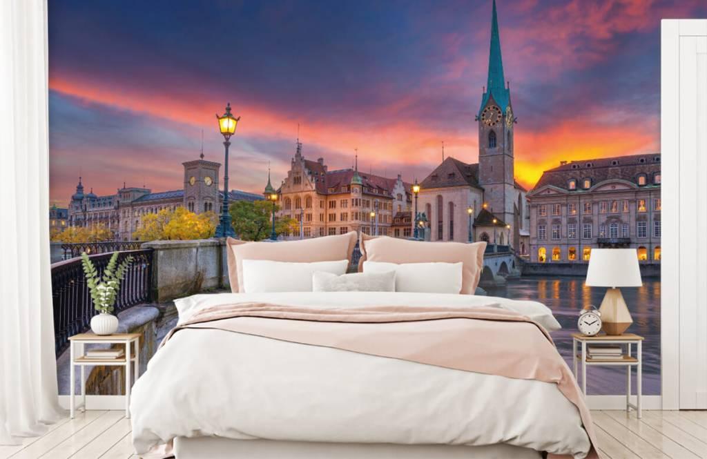Steden behang - Zürich in de avond - Slaapkamer 2