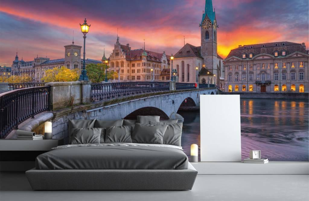 Steden behang - Zürich in de avond - Slaapkamer 3