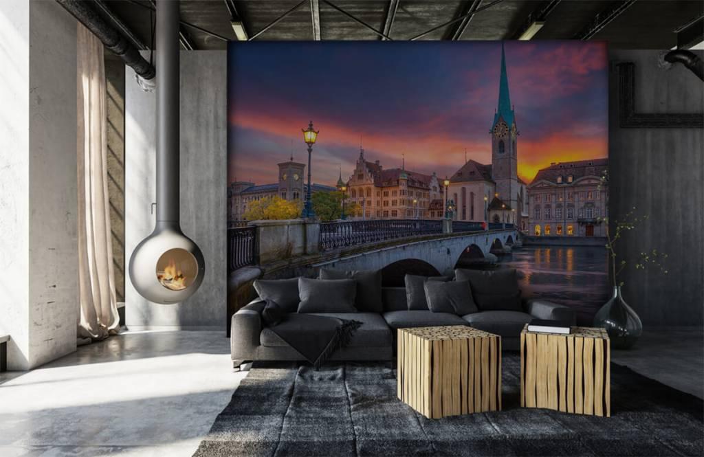 Steden behang - Zürich in de avond - Slaapkamer 6