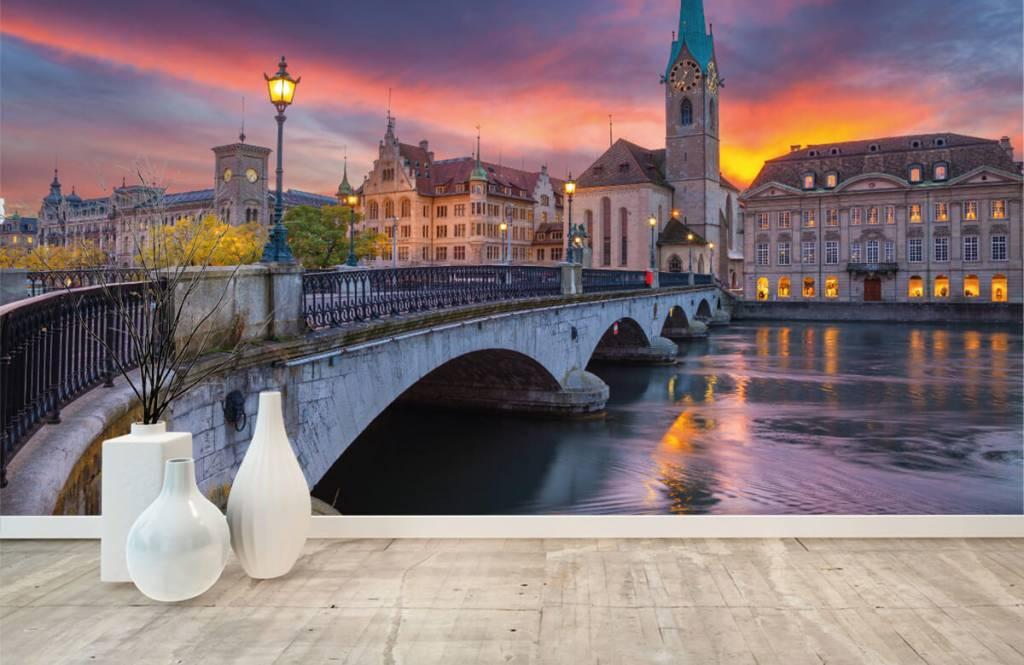 Steden behang - Zürich in de avond - Slaapkamer 8