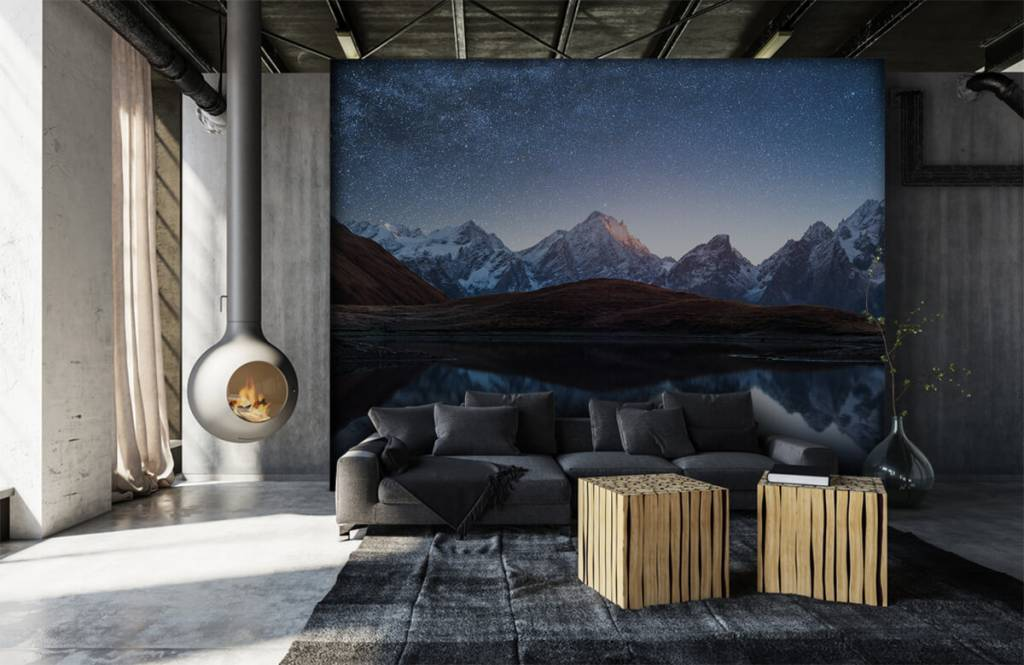 Winter - Bergen met sneeuw bij nacht - Slaapkamer 3