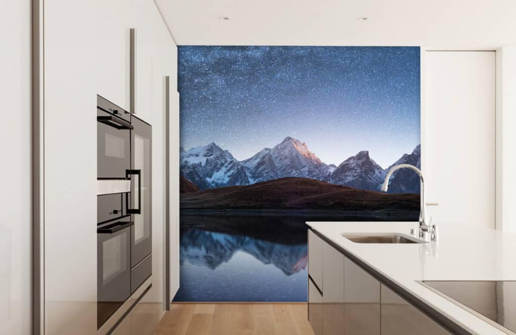 Winter - Bergen met sneeuw bij nacht - Slaapkamer 6