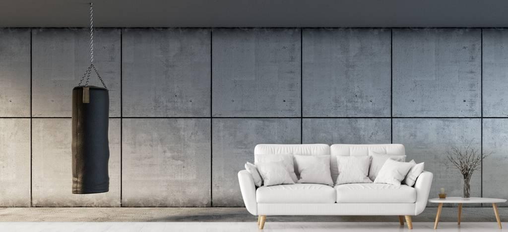 Betonlook behang - Bokszak met betonnen achtergrond - Directie 1