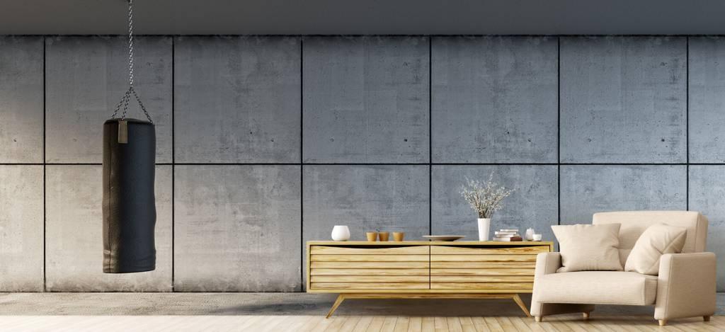 Betonlook behang - Bokszak met betonnen achtergrond - Directie 4