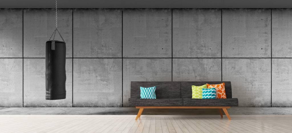 Betonlook behang - Bokszak met betonnen achtergrond - Directie 6