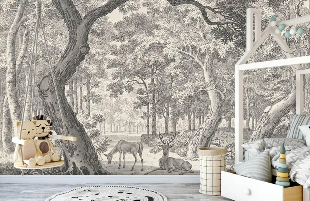 Bos behang - Bosgezicht met twee herten - Slaapkamer 1