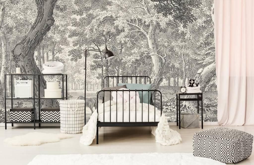 Bos behang - Bosgezicht met twee herten - Slaapkamer 2