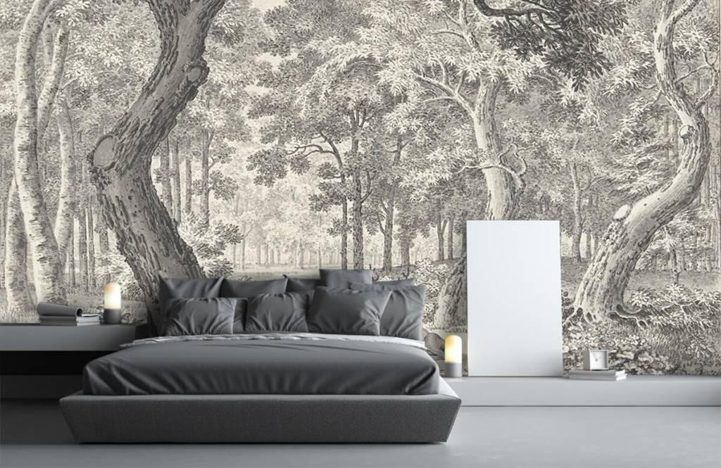 Bos behang - Bosgezicht met twee herten - Slaapkamer 6