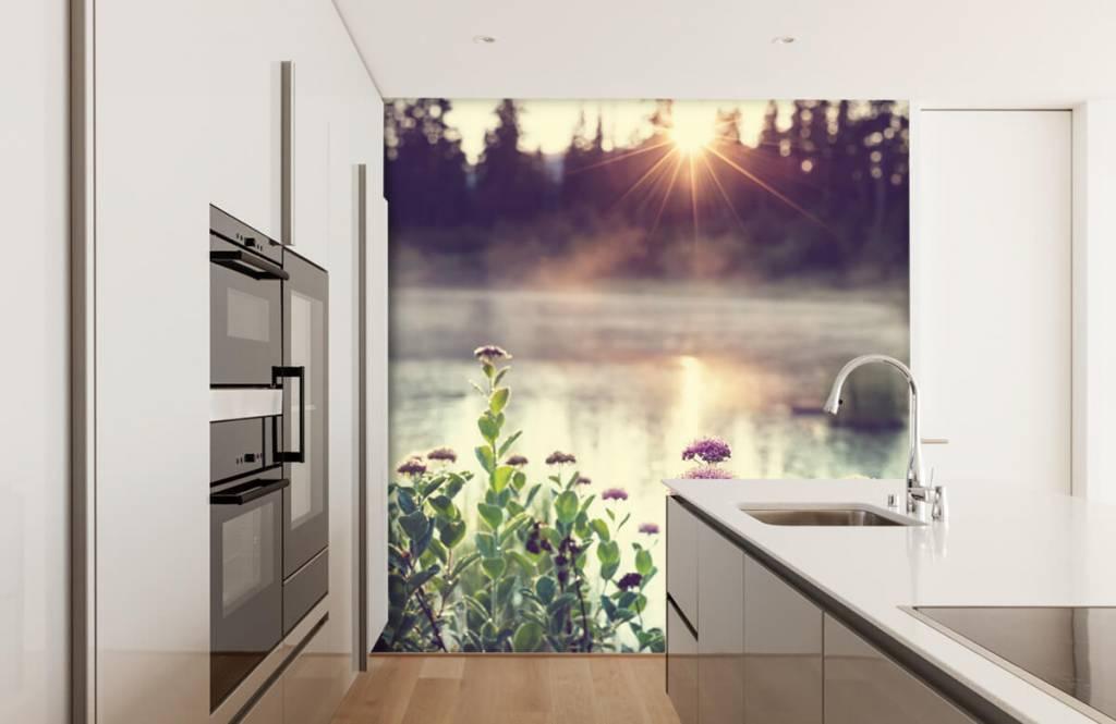 Landschap - Dampend meer met bloemen - Slaapkamer 4