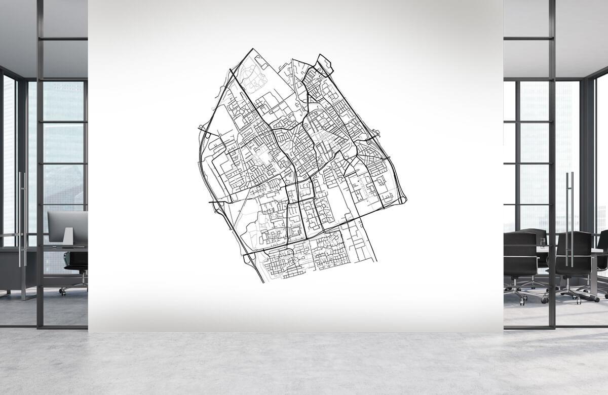 Fotobehang Plattegrond van Delft, wit
