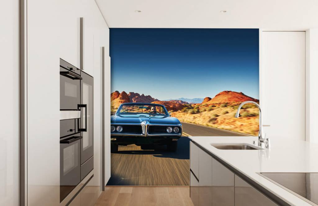 Fotobehang Muscle car in een Amerikaans landschap