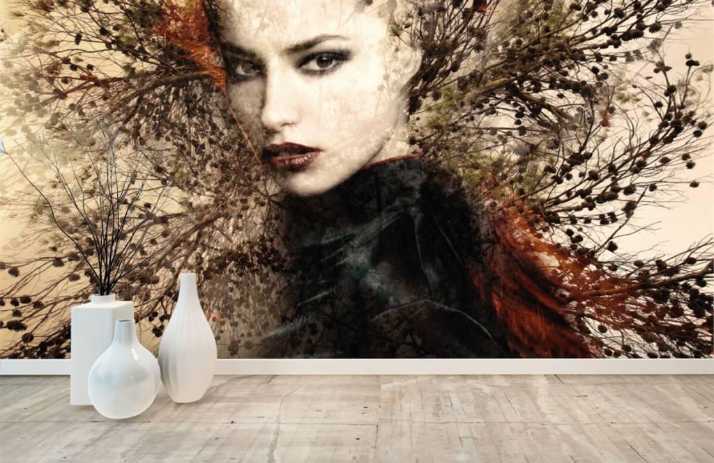 Modern behang - Vrouw en sierlijke takken - Tienerkamer 1