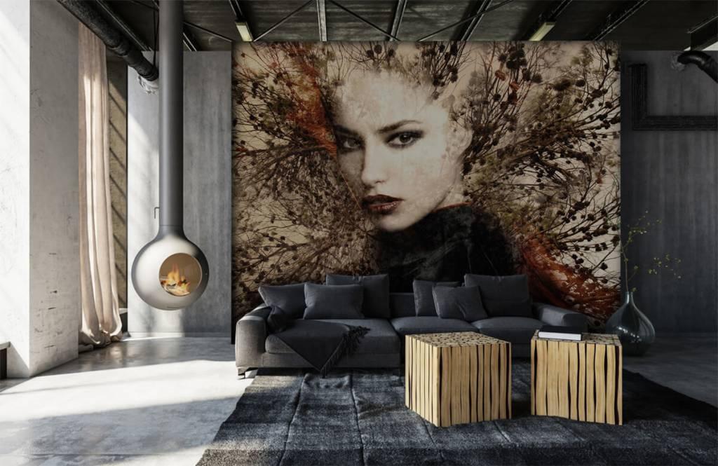 Modern behang - Vrouw en sierlijke takken - Tienerkamer 2