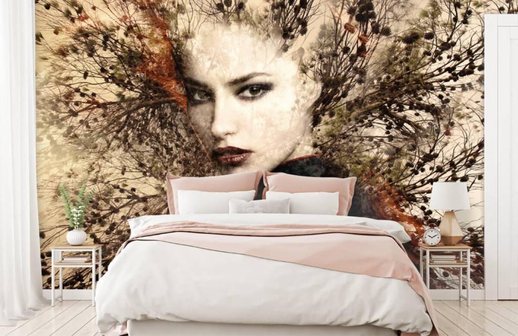 Modern behang - Vrouw en sierlijke takken - Tienerkamer 3