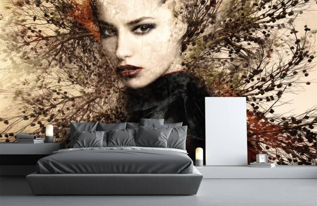 Modern behang - Vrouw en sierlijke takken - Tienerkamer 5