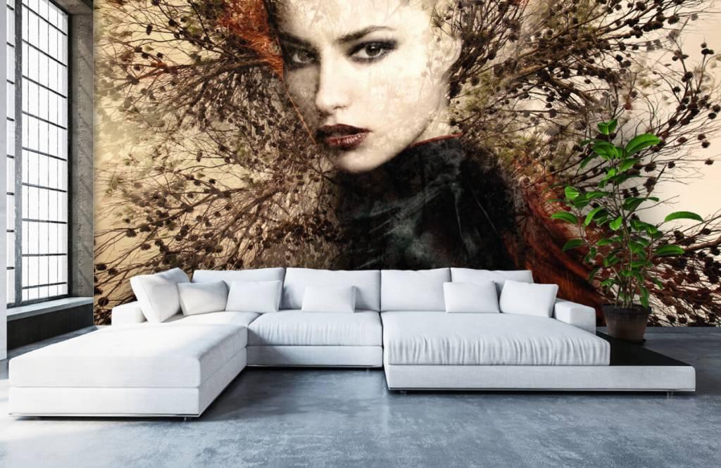 Modern behang - Vrouw en sierlijke takken - Tienerkamer 7
