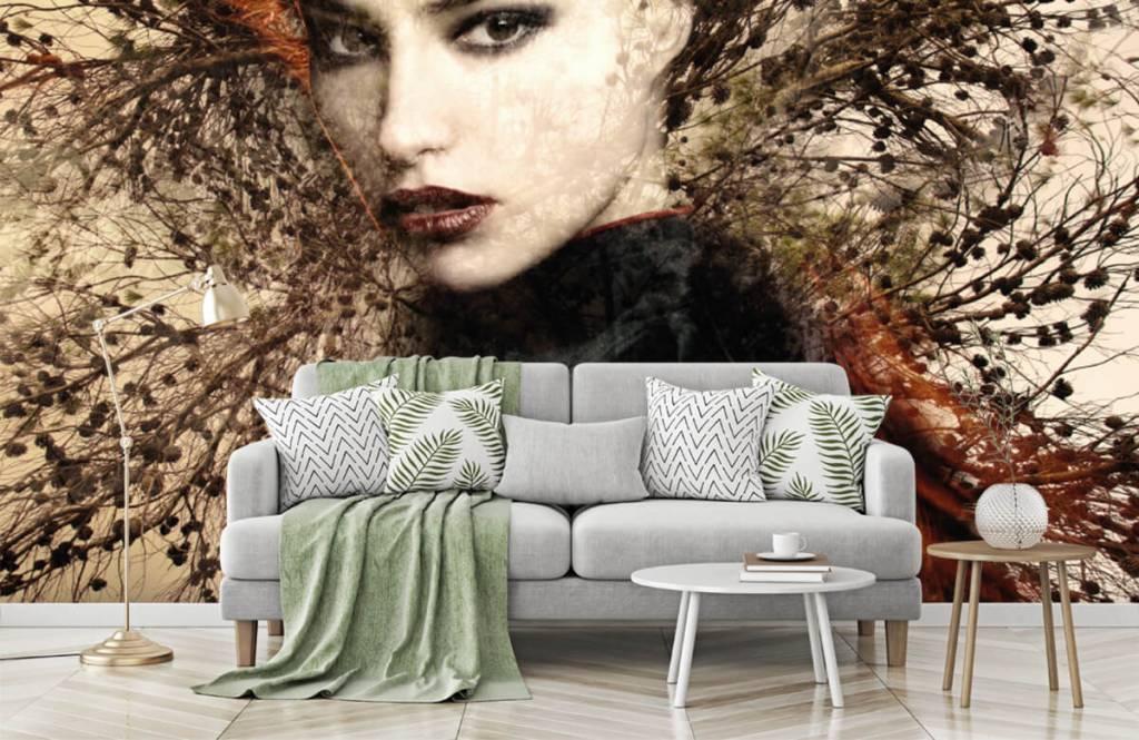 Modern behang - Vrouw en sierlijke takken - Tienerkamer 8