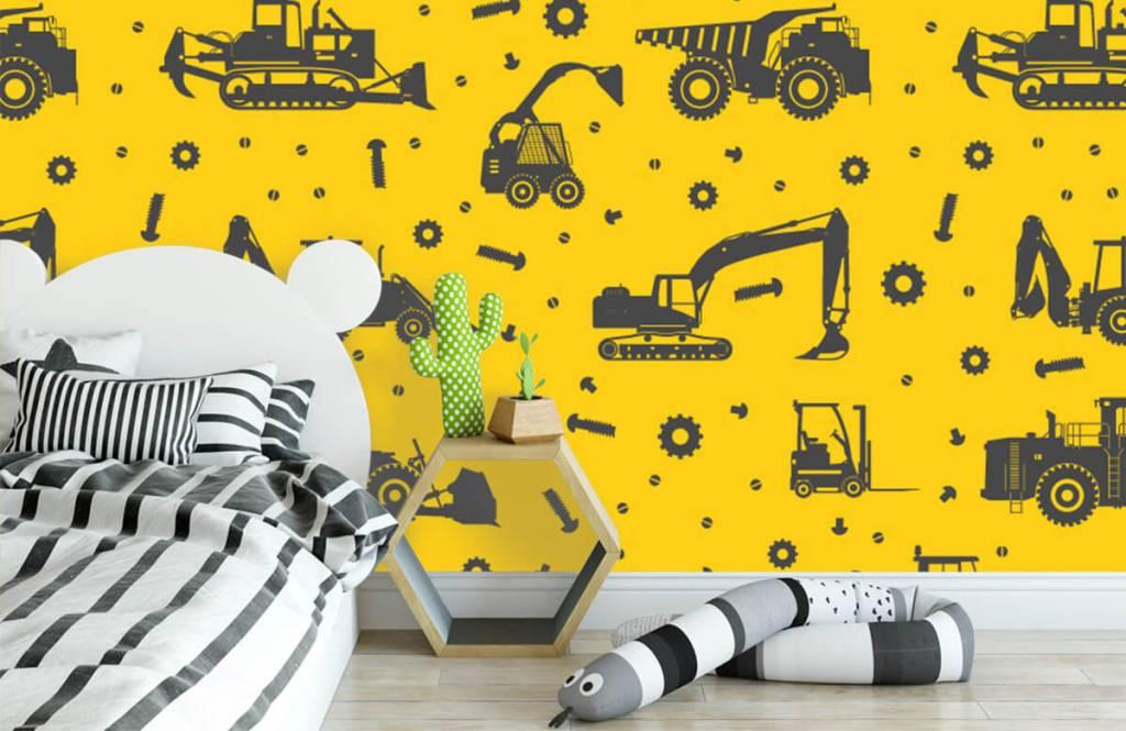 Jongensbehang - Bouwverkeer geel - Kinderkamer 3