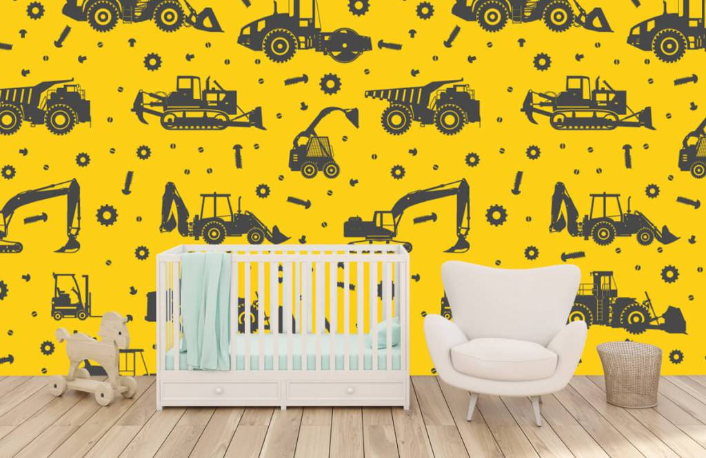 Jongensbehang - Bouwverkeer geel - Kinderkamer 5