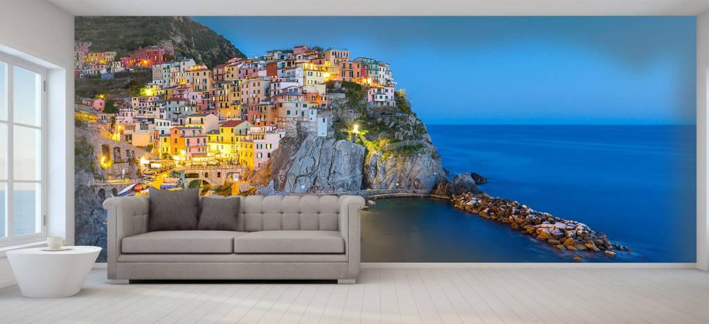 Steden behang - Italiaanse stad bij nacht - Slaapkamer 1