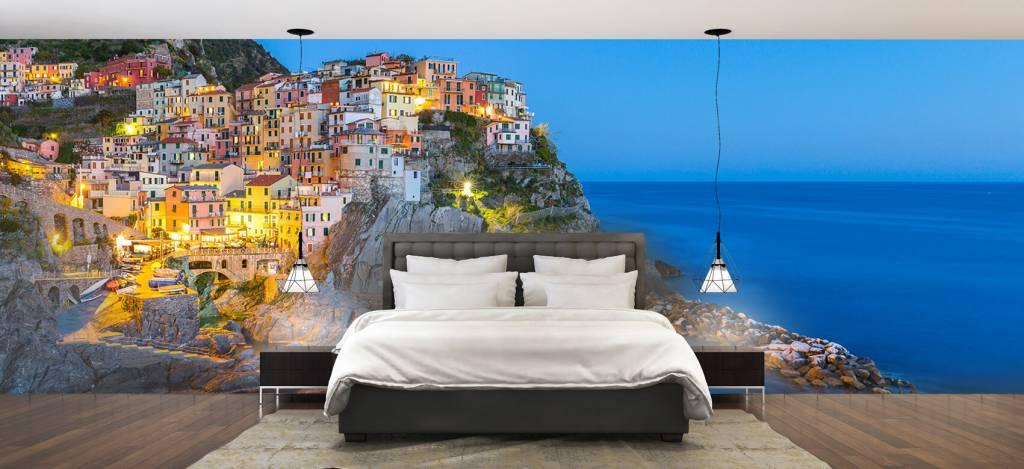 Steden behang - Italiaanse stad bij nacht - Slaapkamer 2