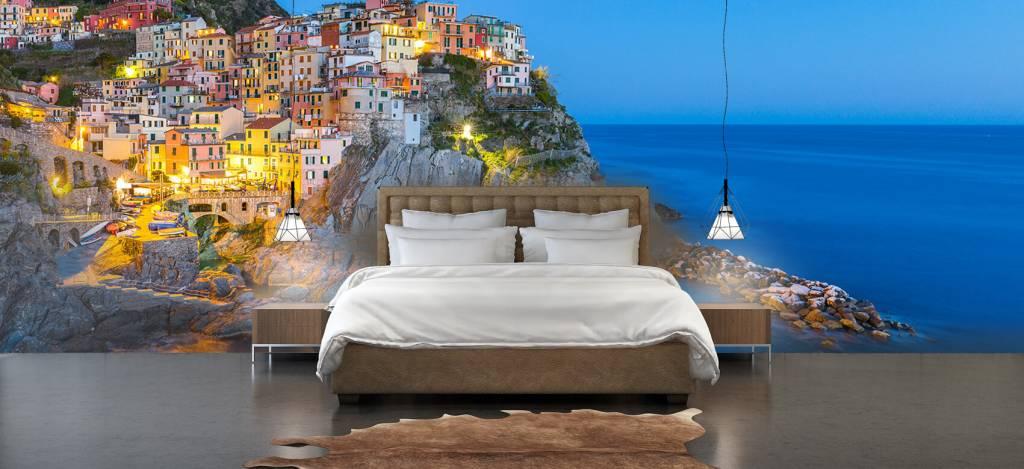 Steden behang - Italiaanse stad bij nacht - Slaapkamer 4