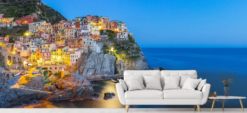 Steden behang - Italiaanse stad bij nacht - Slaapkamer 5