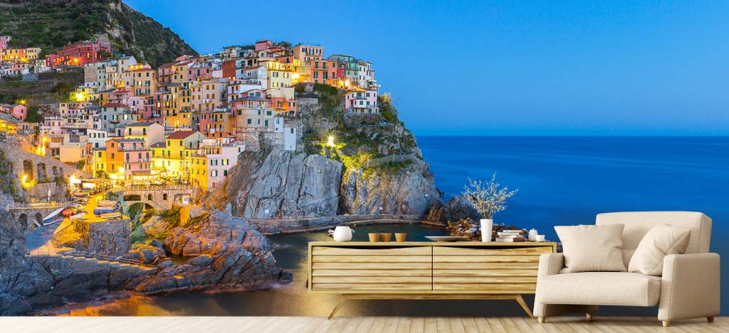 Steden behang - Italiaanse stad bij nacht - Slaapkamer 6