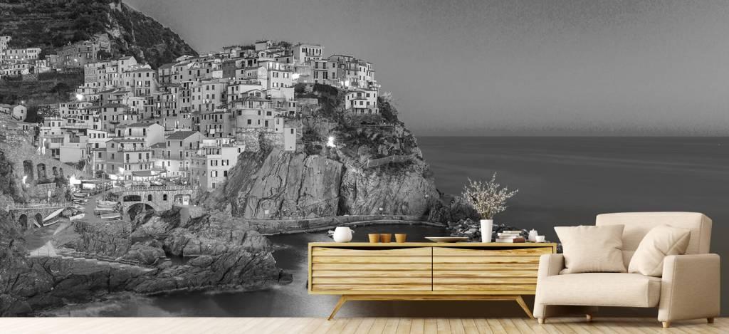 Steden behang - Italiaanse stad bij nacht - Slaapkamer 7