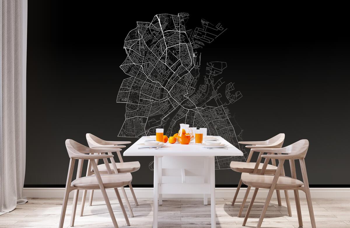Kaarten - Plattegrond van Kopenhagen, zwart - Kantoor 1