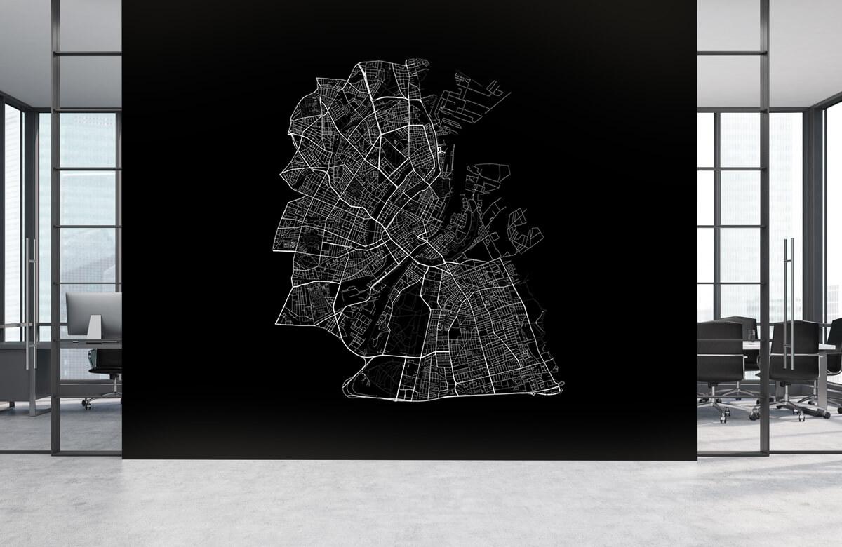 Kaarten - Plattegrond van Kopenhagen, zwart - Kantoor 3