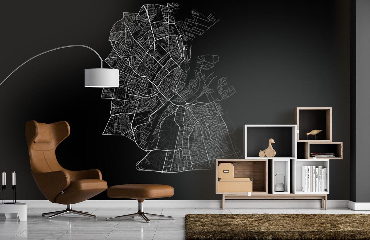 Kaarten - Plattegrond van Kopenhagen, zwart - Kantoor 4