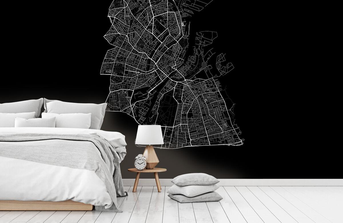 Kaarten - Plattegrond van Kopenhagen, zwart - Kantoor 7