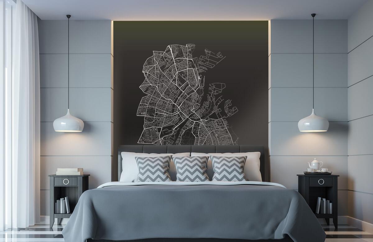 Kaarten - Plattegrond van Kopenhagen, zwart - Kantoor 8