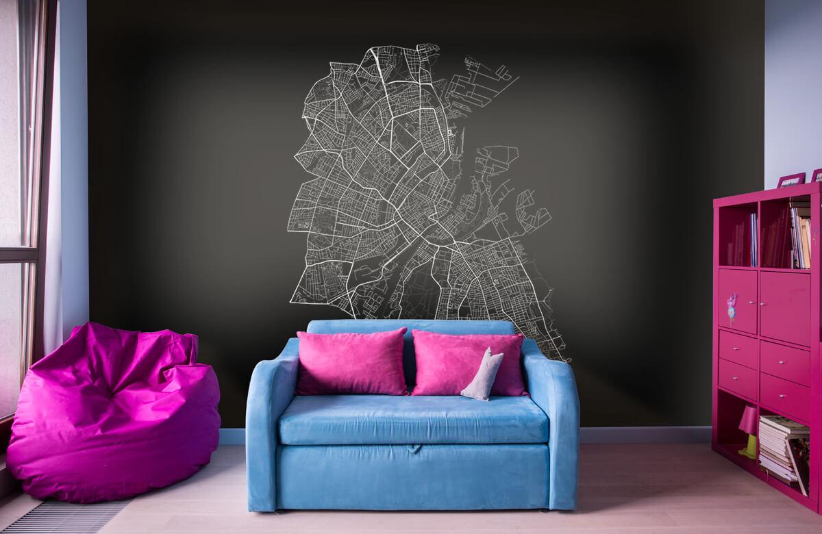 Kaarten - Plattegrond van Kopenhagen, zwart - Kantoor 10