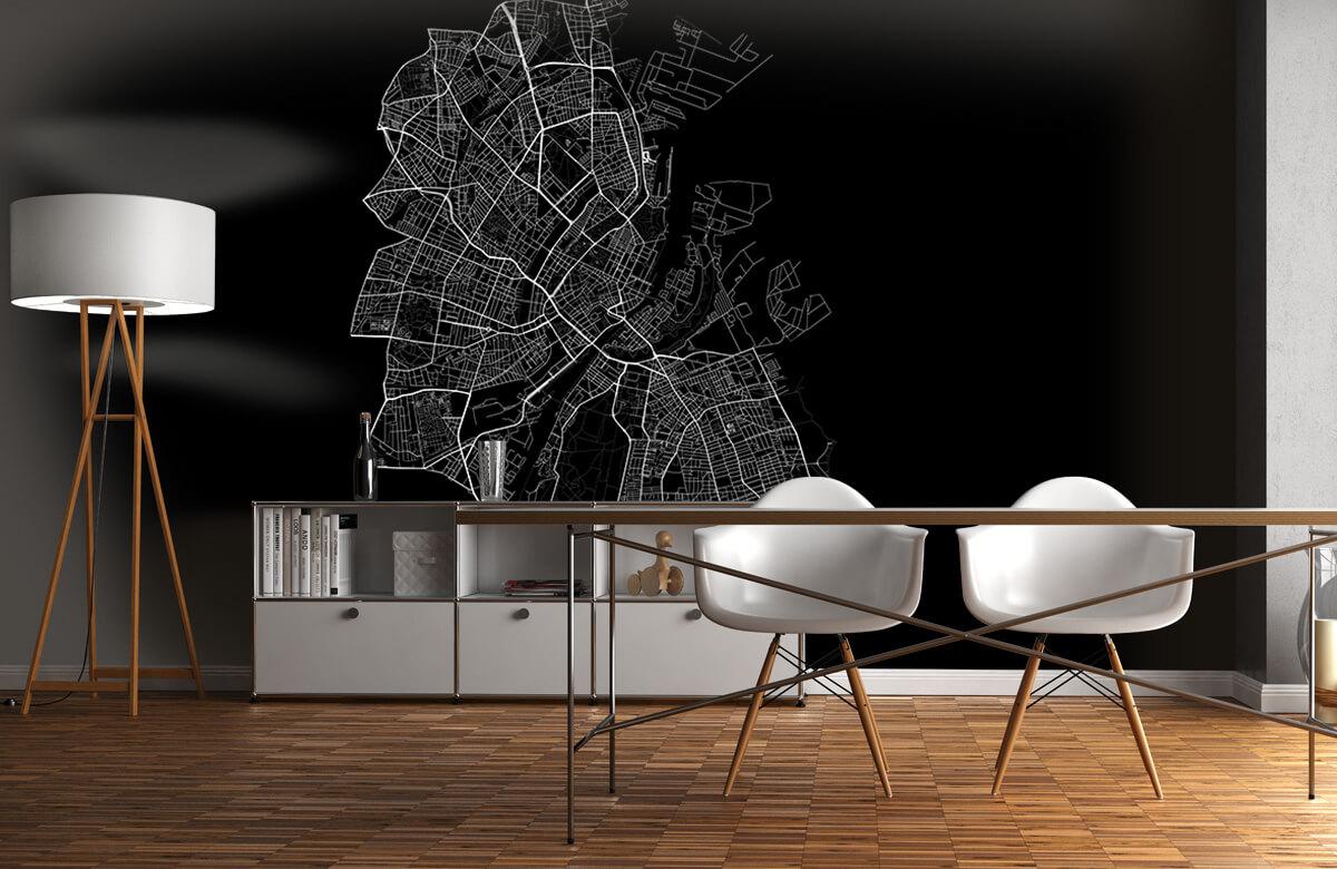 Kaarten - Plattegrond van Kopenhagen, zwart - Kantoor 11
