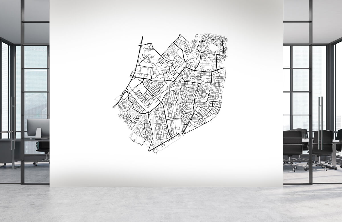 Kaarten - Plattegrond van Leiden, wit - Vergaderruimte 3