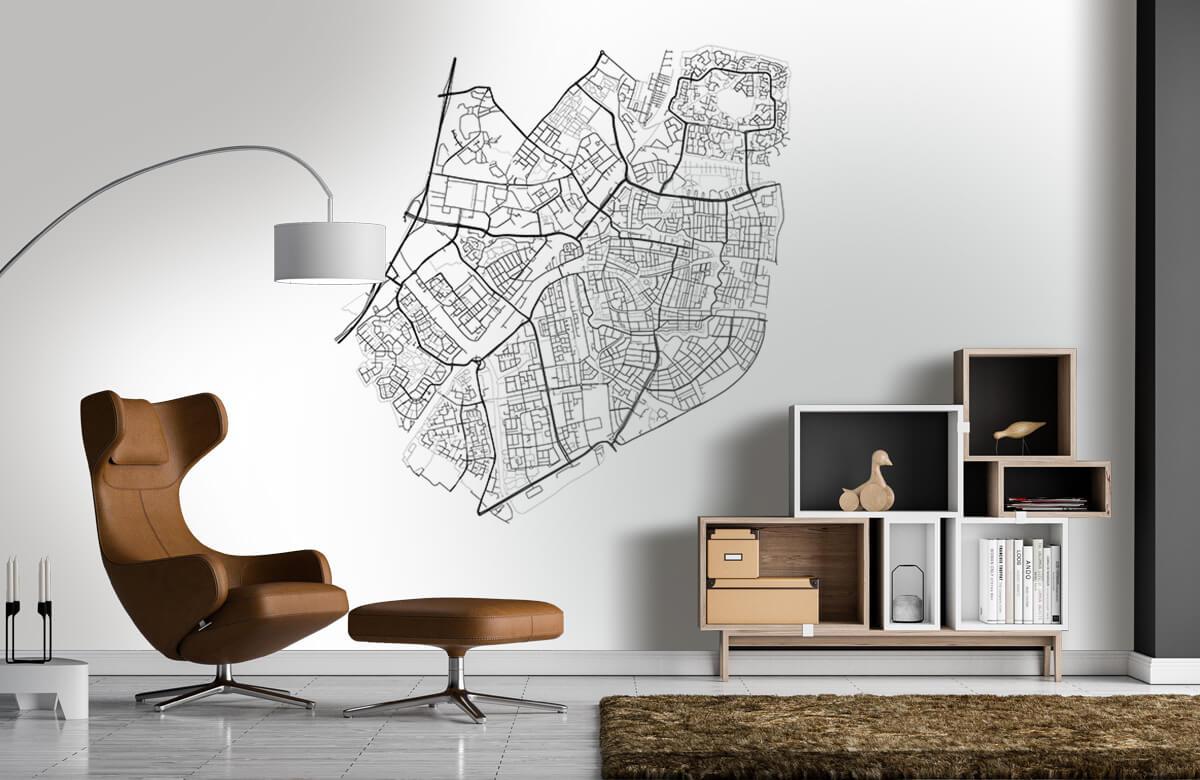 Kaarten - Plattegrond van Leiden, wit - Vergaderruimte 4