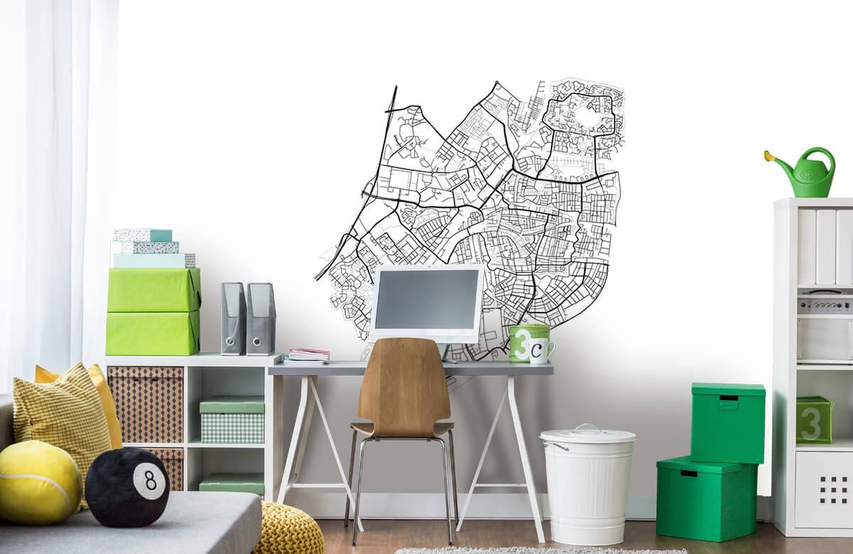 Kaarten - Plattegrond van Leiden, wit - Vergaderruimte 9
