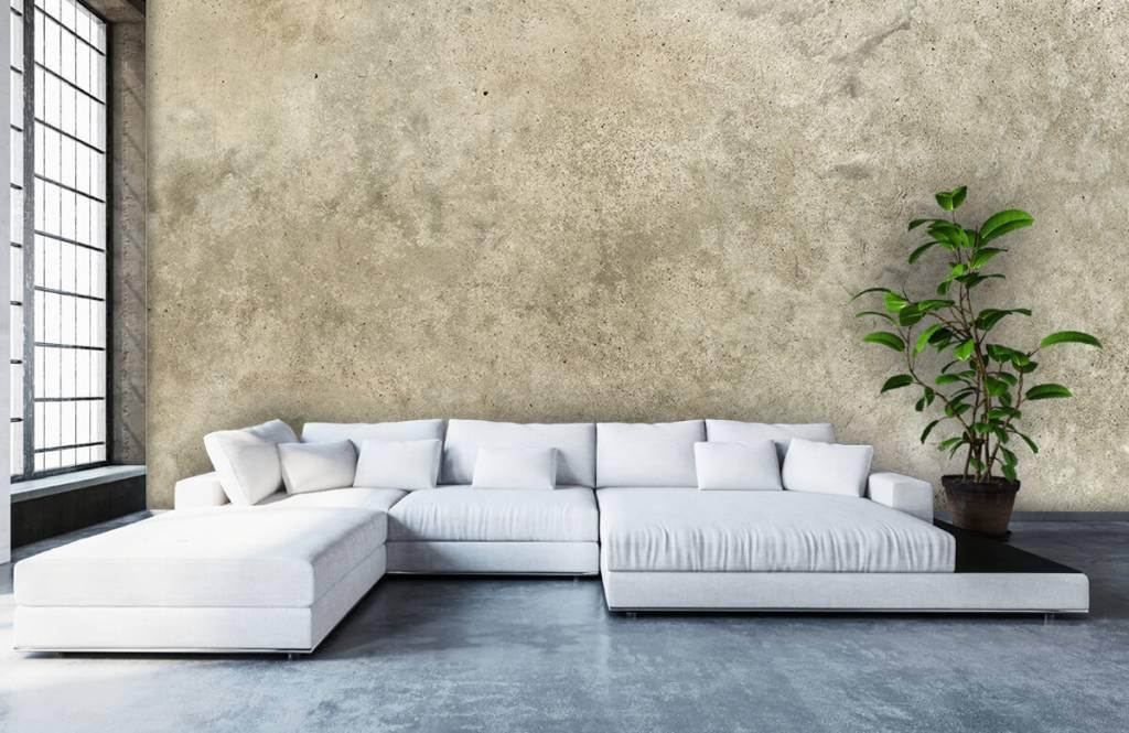 Betonlook behang - Lichtgrijs gepolijst beton - Woonkamer 1
